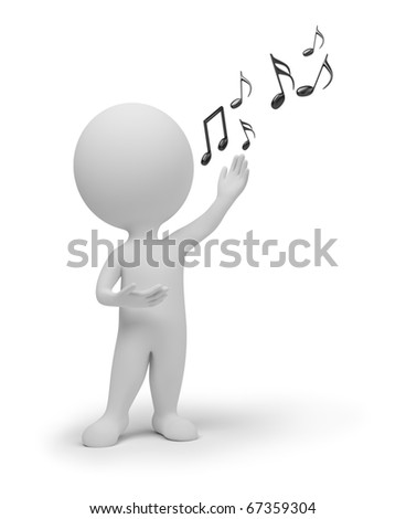 3d small people - singer and notes - stock photo
