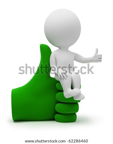 3d small people sitting on a positive symbol. 3d image. Isolated white background. - stock photo