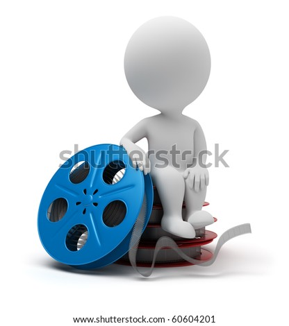 3d small people sitting on film reel. 3d image. Isolated white background. - stock photo