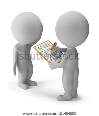 3d small people spend a survey. 3d image. Isolated white background. - stock photo