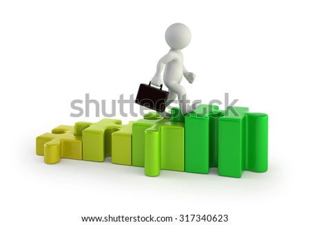 3d small people - stairs puzzles - stock photo
