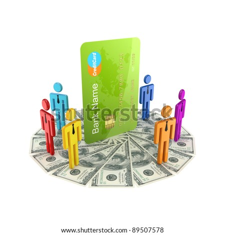 3d small people standing on dollars around large credit card.Isolated on white background. - stock photo
