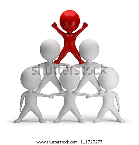 3d small people standing on each other in the form of a pyramid with the top leader. 3d image. Isolated white background. - stock photo