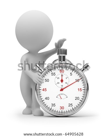 3d small people start pressing the button on a stop watch. 3d image. Isolated white background. Clipping path included. - stock photo