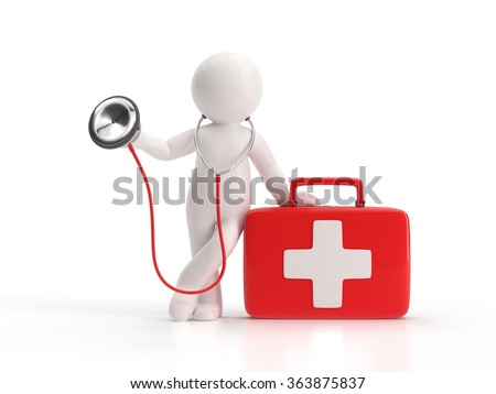 3d small people - stethoscope and medical kit - stock photo