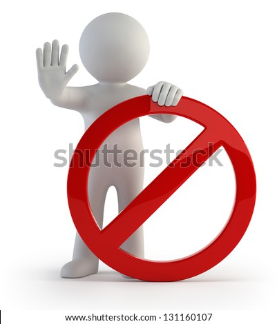 3d small people - stop sign - stock photo