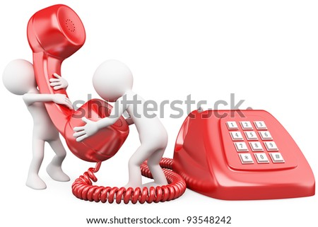 3D small people talking on the phone. Rendered at high resolution on a white background with diffuse shadows. - stock photo