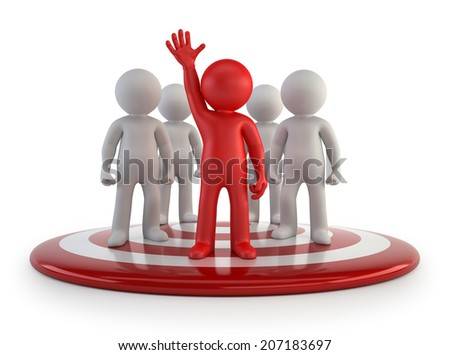 3d small people - team leader - stock photo