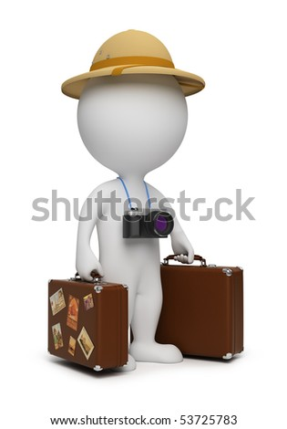 3d small people - tourist with suitcases and the camera. 3d image. Isolated white background. - stock photo
