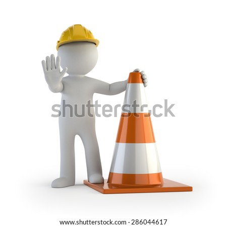 3d small people - traffic cone - stock photo