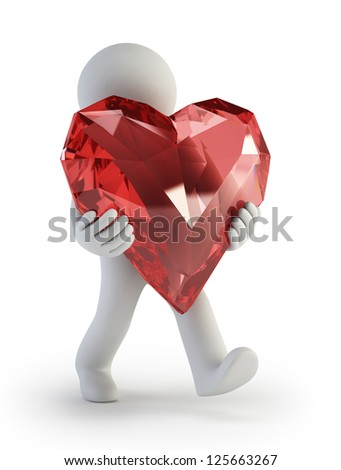 3d small people - Valentine Day Heart - stock photo