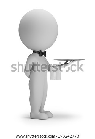 3d small people - waiter with tray. 3d image. White background. - stock photo