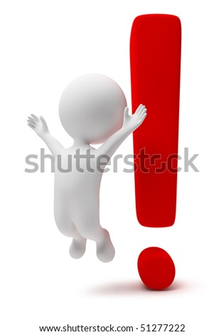 3d small people with a exclamation mark. 3d image. Isolated white background. - stock photo