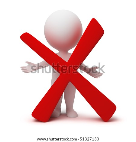 3d small people with a negative symbol. 3d image. Isolated white background. - stock photo