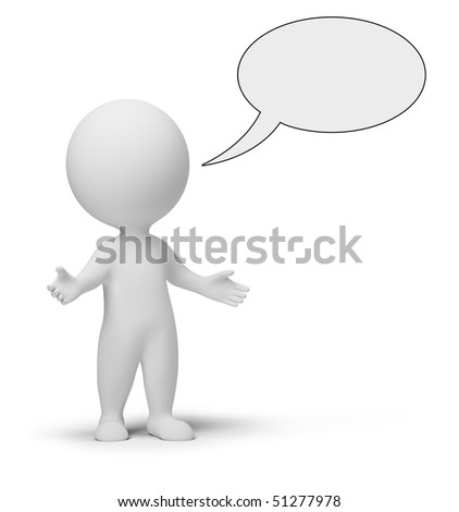 3d small people with empty chat bubble. 3d image. Isolated white background. - stock photo