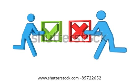 3d small people with tick mark and cross mark in a hands.Isolated on white. - stock photo