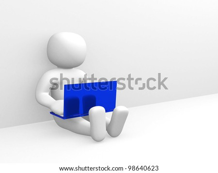 3d small people working on the laptop. 3d render - stock photo