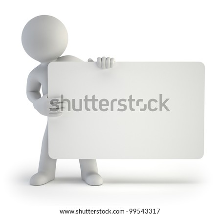 3d small people - your empty board - stock photo