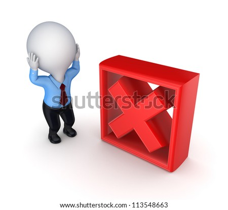 3d small person and red cross mark.Isolated on white background. - stock photo