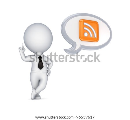 3d small person and RSS symbol.Isolated on white background. - stock photo