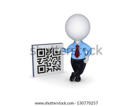 3d small person and symbol of QR code.Isolated on white background. - stock photo