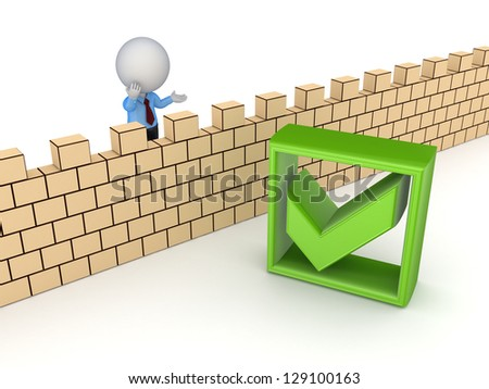 3d small person behind the wall and tick mark.Isolated on white. - stock photo