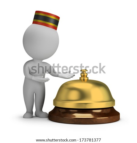 3d small person - bellboy and service bell. 3d image. White background. - stock photo