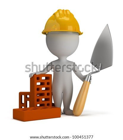 3d small person - builder in the helmet with a shovel and bricks. 3d image. Isolated white background. - stock photo