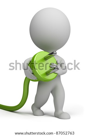 3d small person carrying in his hand an electric plug. 3d image. Isolated white background. - stock photo