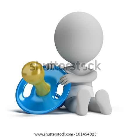 3d small person - child sitting next to a big pacifier. 3d image. Isolated white background. - stock photo