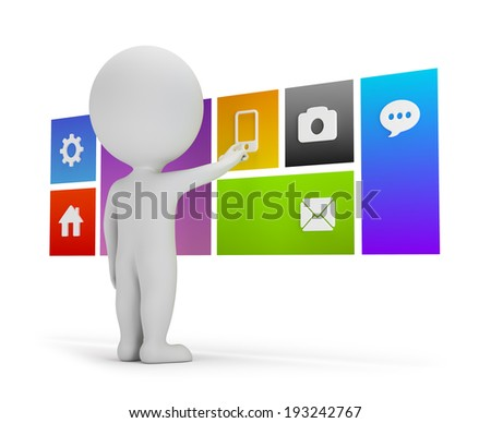 3d small person chooses menu user interface in a flat. 3d image. White background. - stock photo