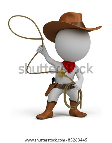 3d small person cowboy with lasso in hand, wearing a hat and boots. 3d image. Isolated white background. - stock photo