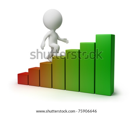 3d small person going upwards under the schedule. 3d image. Isolated white background. - stock photo