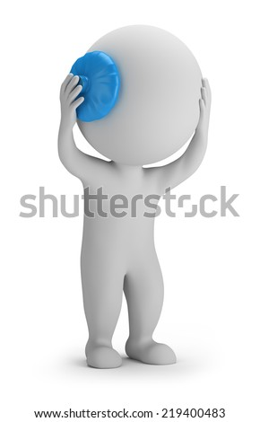 3d small person holding his head on the ice pack. 3d image. White background. - stock photo