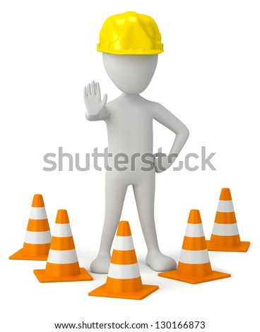 3d small person in a helmet-traffic cone. 3d image. On a white background. - stock photo