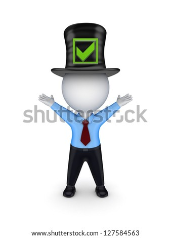 3d small person in top-hat with green tick mark.3d rendered. - stock photo