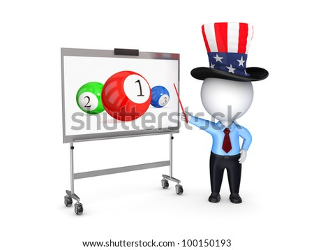3d small person in uncle sam's hat pointing on a billiard balls.Isolated on white background. - stock photo