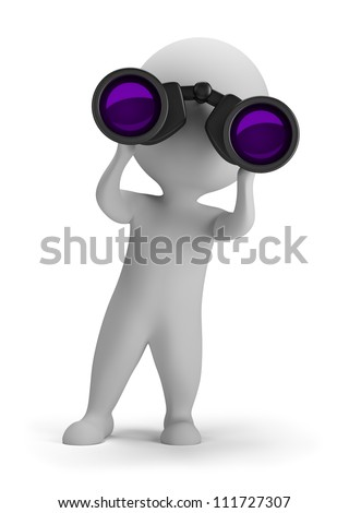 3d small person looking through binoculars. 3d image. Isolated white background. - stock photo