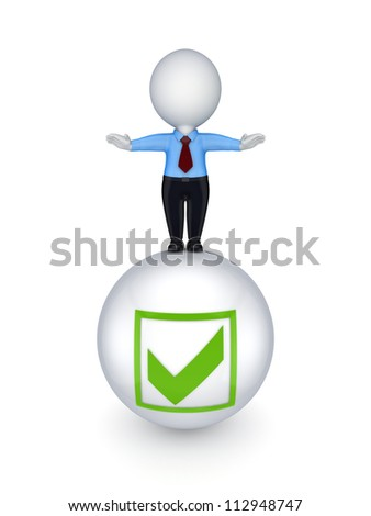 3d small person on a ball with a tick mark.Isolated on white background.3d rendered. - stock photo
