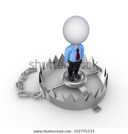 3d small person on iron trap.Isolated on white background.3d rendered. - stock photo