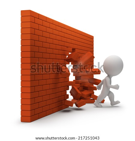 3d small person passing through a brick wall. 3d image. White background. - stock photo