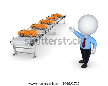 3d small person points to the conveyor with little cars.Isolated on white background. - stock photo