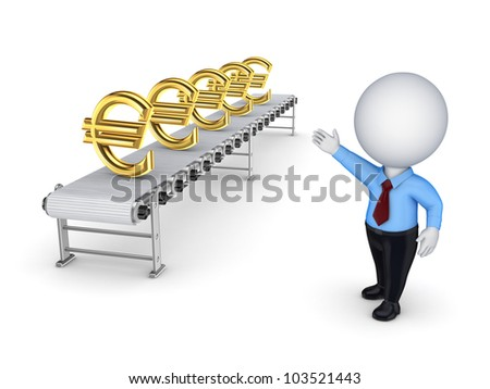 3d small person points to the conveyor with the symbols of the euro.isolated on white background.3d rendered. - stock photo