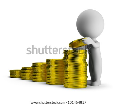 3d small person puts gold coins on each other. 3d image. Isolated white background. - stock photo