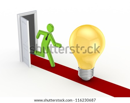 3d small person running to a yellow bulb.Isolated on white background.3d rendered. - stock photo