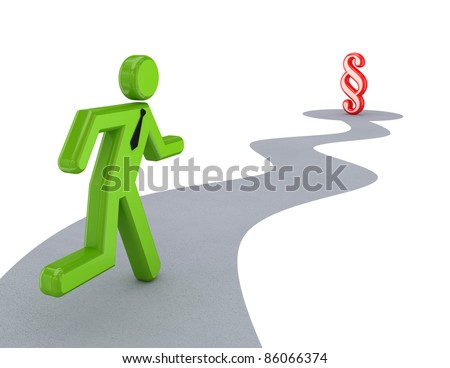 3d small person running to paragraph sign. Isolated on white background. - stock photo
