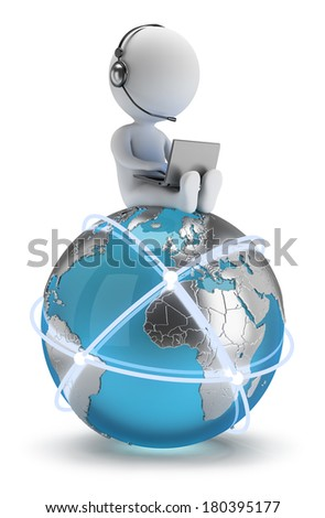3d small person sitting with a laptop on the Earth with a global network. 3d image. White background. - stock photo