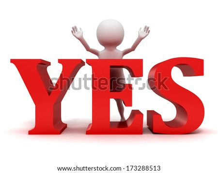 3d small person standing behind of red yes icon - stock photo