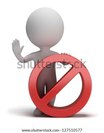 3d small person standing next to a stop sign. 3d image. White background. - stock photo