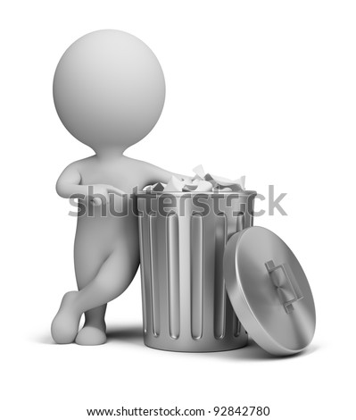 3d small person standing next to a trash can. 3d image. Isolated white background. - stock photo